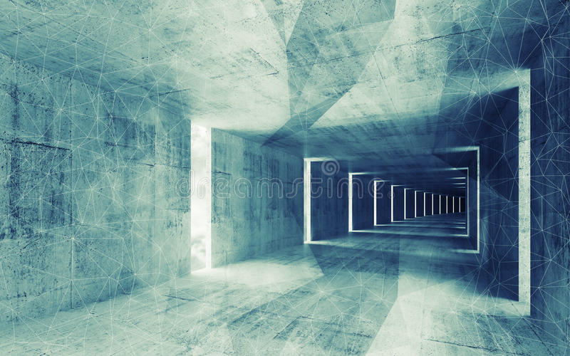 3d rinden, interior vacío abstracto entonado azulverde stock de ilustración