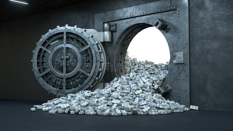 3d rinden la abertura de la puerta de la cámara acorazada en el banco con mucho dinero libre illustration