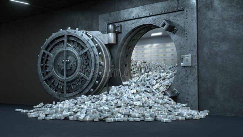 3d rinden la abertura de la puerta de la cámara acorazada en el banco con mucho dinero ilustración del vector