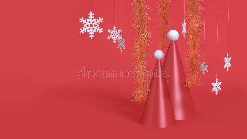 3d rinden la escena roja del casquillo-cono abstracto del sombrero de la Navidad del fondo de la Navidad foto de archivo