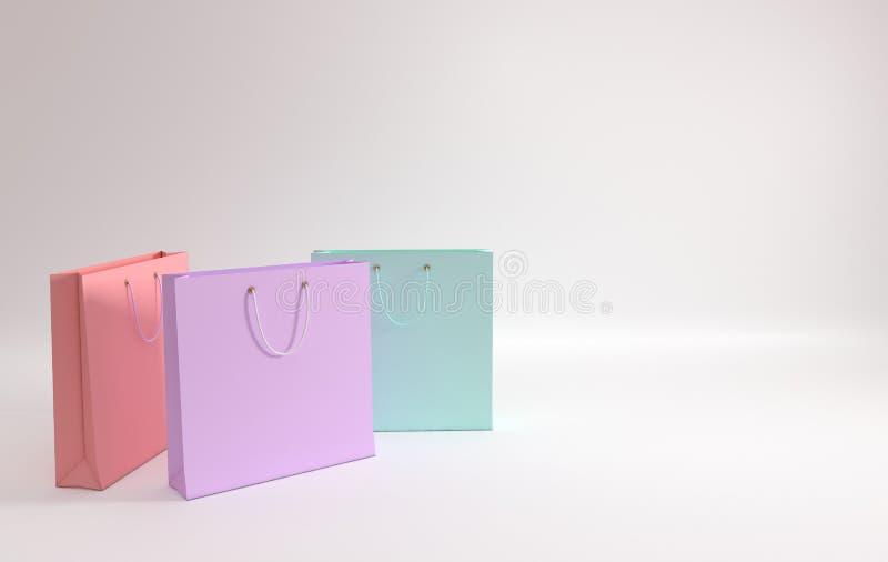 3d rinden la ilustración Sistema de bolsos que hacen compras de papel coloreados en colores pastel en el fondo blanco Concepto de ilustración del vector