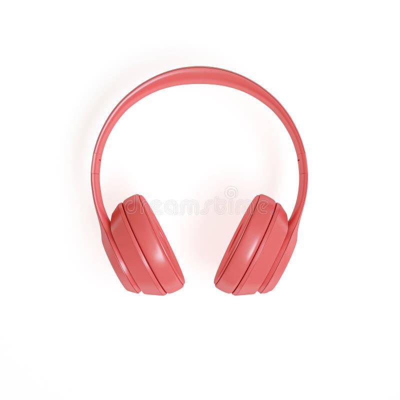 3d rinden la imagen de auriculares audios coral-coloreados modernos en un blanco libre illustration