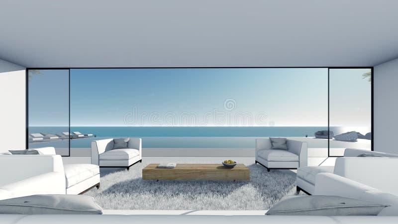 3d rinden la opinión del mar de la terraza de la piscina se relajan con la sala de estar blanca ilustración del vector