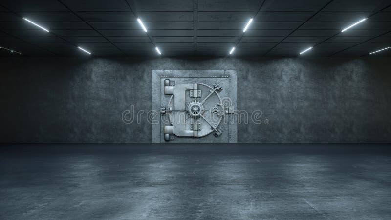 3d rinden la puerta de la cámara acorazada en el banco ilustración del vector