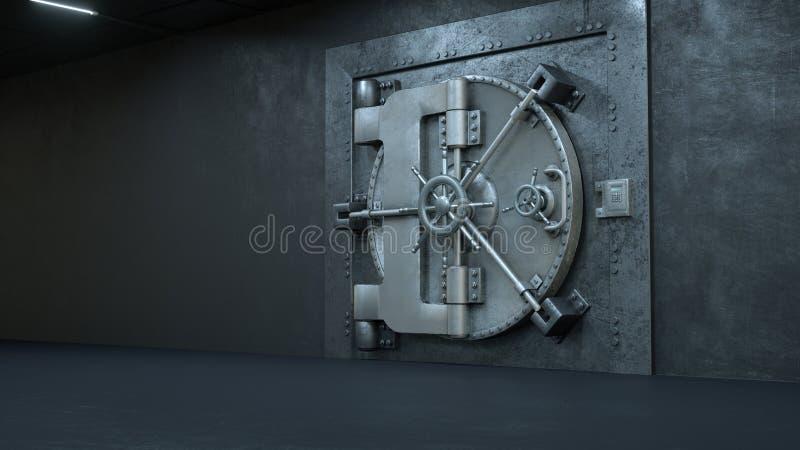 3d rinden la puerta de la cámara acorazada en el banco libre illustration