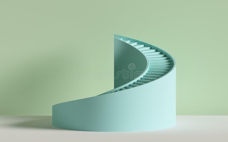 3d rinden, las escaleras espirales, pasos, cilindro, fondo abstracto en colores en colores pastel, escena mínima ilustración del vector
