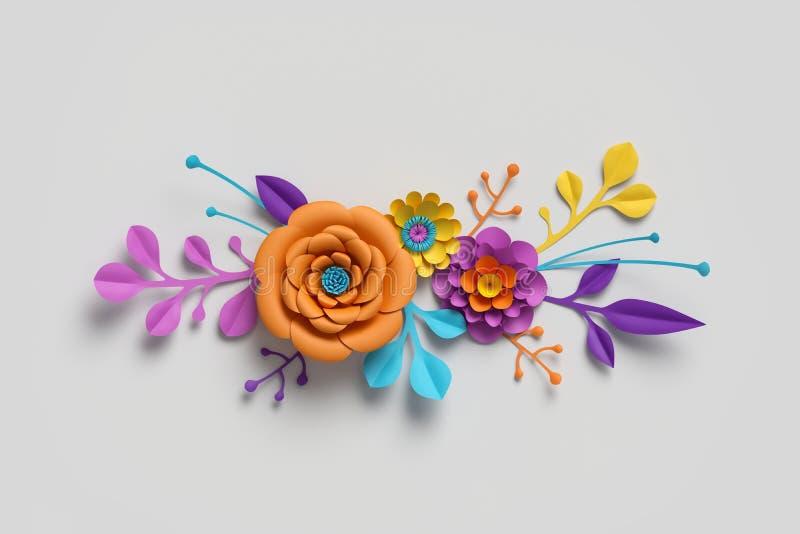3d rinden, las flores de papel, paleta de colores brillante, fondo botánico, clip art aislado, ramo, frontera floral fotografía de archivo libre de regalías