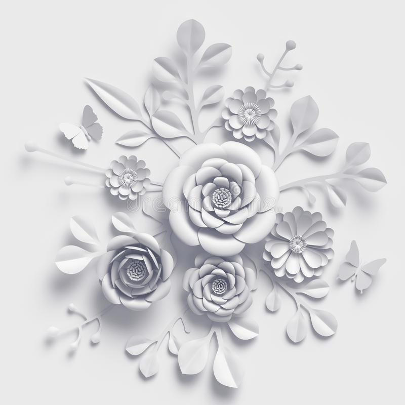 3d rinden, las flores de papel que se casan blancas, ramo floral, fondo botánico, arte de papel libre illustration