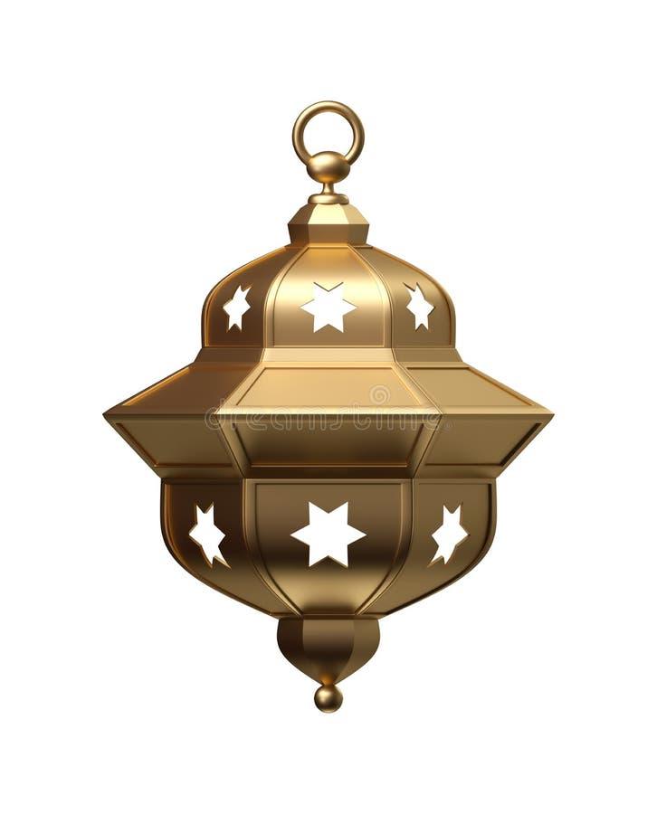 3d rinden, linterna de oro, lámpara mágica, decoración árabe tribal, diseño del arabesque, ejemplo digital, objeto aislado stock de ilustración
