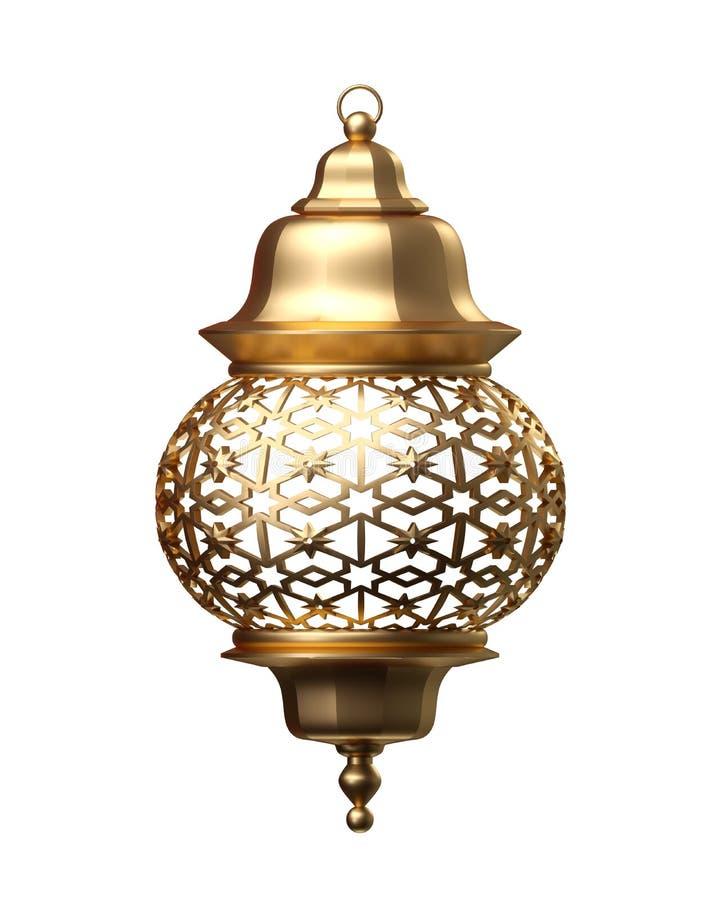 3d rinden, linterna de oro, lámpara mágica, decoración árabe tribal, diseño del arabesque, Ramadan Kareem, objeto aislado encendi ilustración del vector