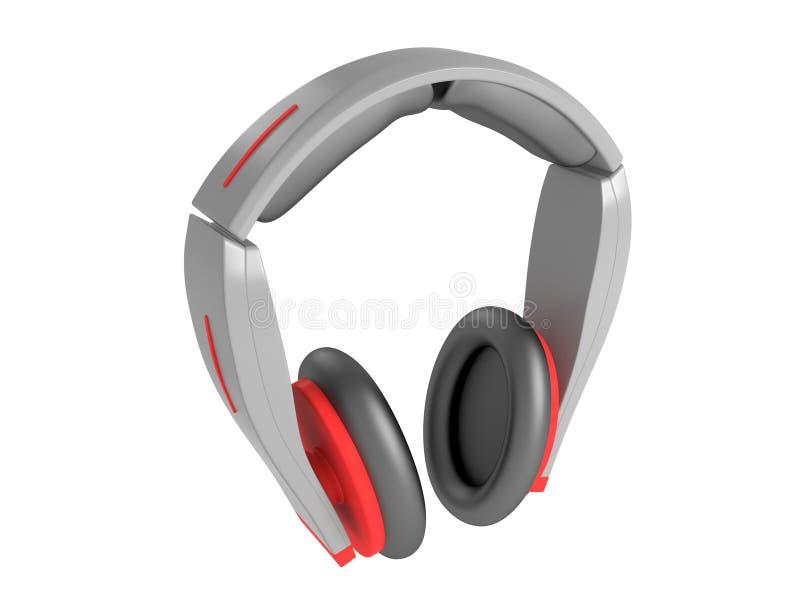 3d rinden los auriculares rojos grises aislados ilustración del vector