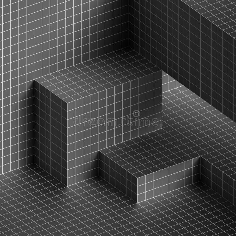 3d rinden, los bloques arquitectónicos, sitio vacío, textura de la rejilla, fondo mínimo abstracto blanco y negro stock de ilustración