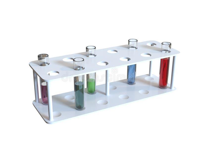3d rinden los tubos de examen médico aislados stock de ilustración