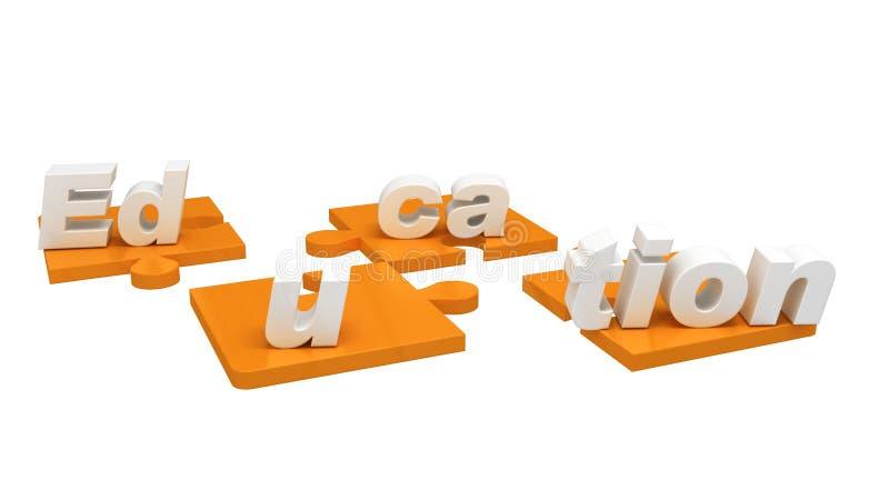 3D rinden mostrar la educación de la palabra en pedazos del rompecabezas imagenes de archivo