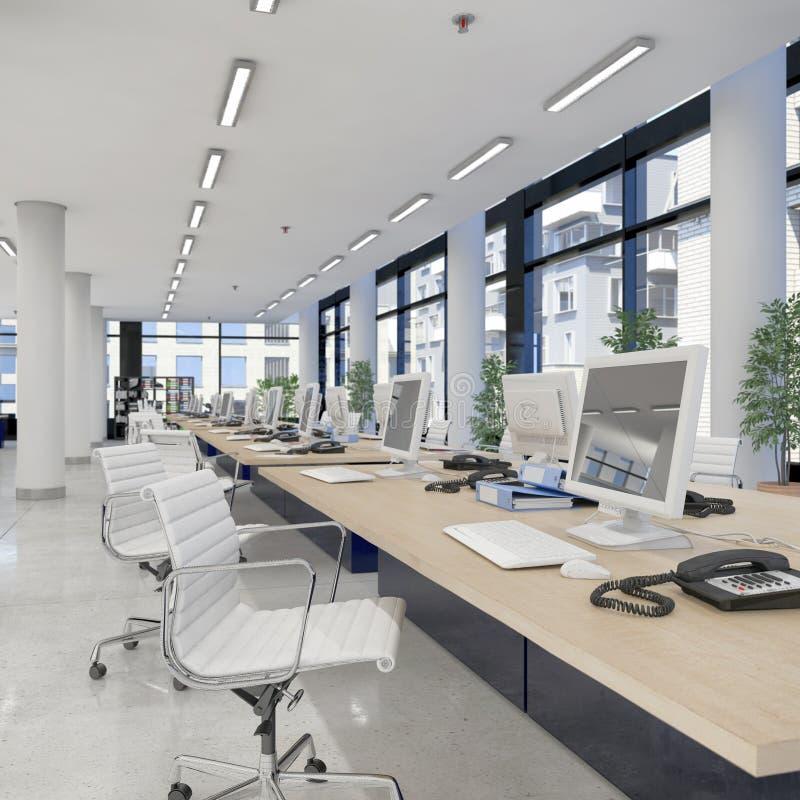 3d rinden - oficina abierta del plan - el edificio de oficinas stock de ilustración