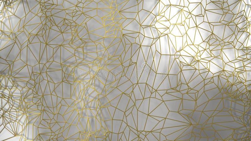 3d rinden, pared moderna de oro hecha por el alambre de oro, ejemplo digital del triángulo al azar de los racimos, geométrico abs imagen de archivo libre de regalías