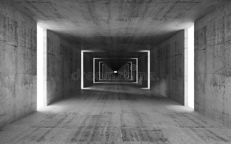 3d rinden, resumen el interior concreto gris vacío ilustración del vector