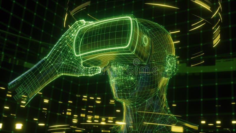 3D rinden, sirven sostener los vidrios de la realidad virtual, dispositivo electrónico, cabeza, datos virtuales, interfaz de usua libre illustration