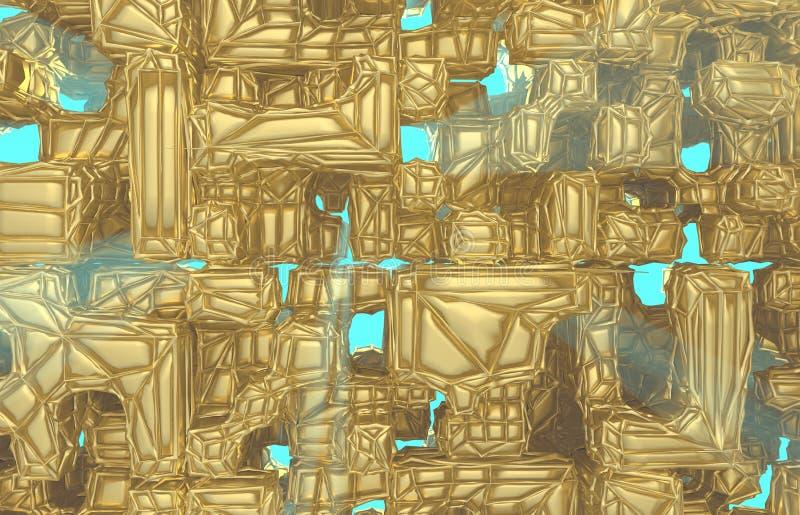 3d rinden, textura atada con alambre moderna de oro de la pared del cubo, ejemplo digital de los racimos al azar, fondo geométric fotos de archivo libres de regalías