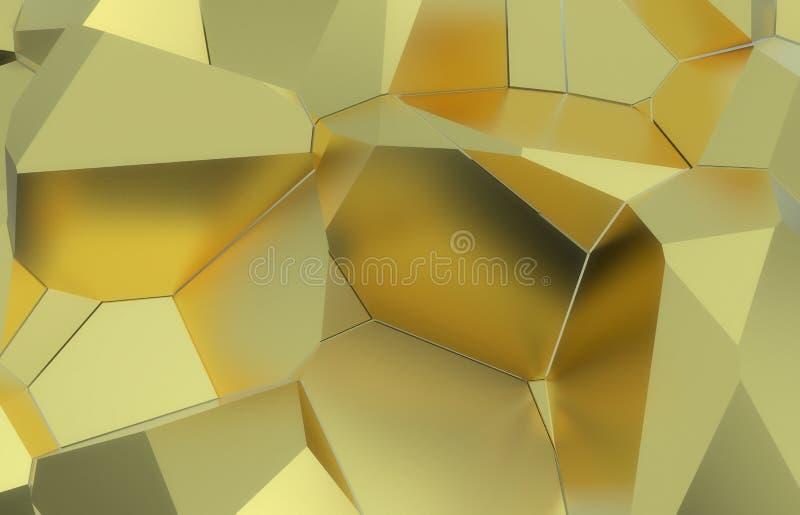 3d rinden, textura rota moderna de oro de la pared, ejemplo digital de los racimos al azar, fondo geométrico abstracto imagen de archivo