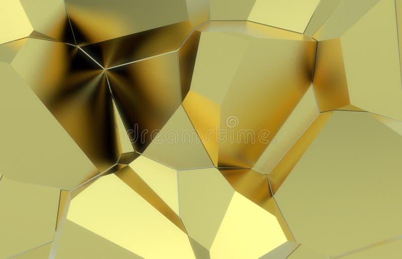 3d rinden, textura rota moderna de oro de la pared, ejemplo digital de los racimos al azar, fondo geométrico abstracto foto de archivo libre de regalías