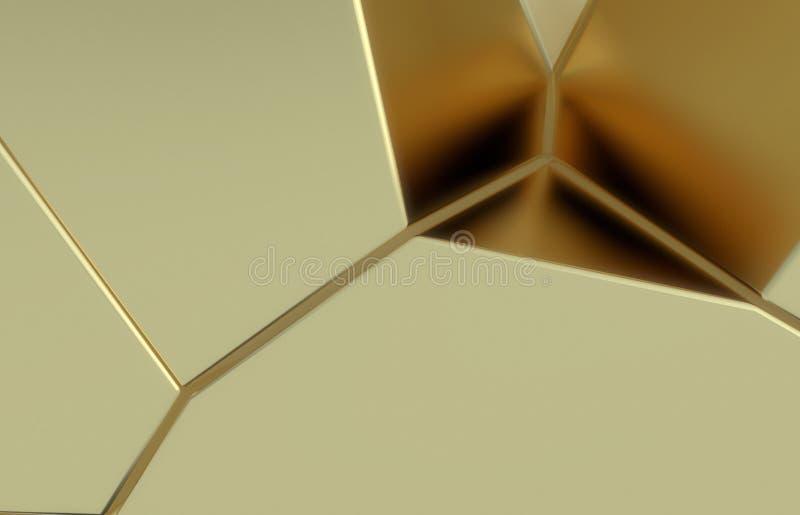 3d rinden, textura rota moderna de oro de la pared, ejemplo digital de los racimos al azar, fondo geom?trico abstracto imagen de archivo