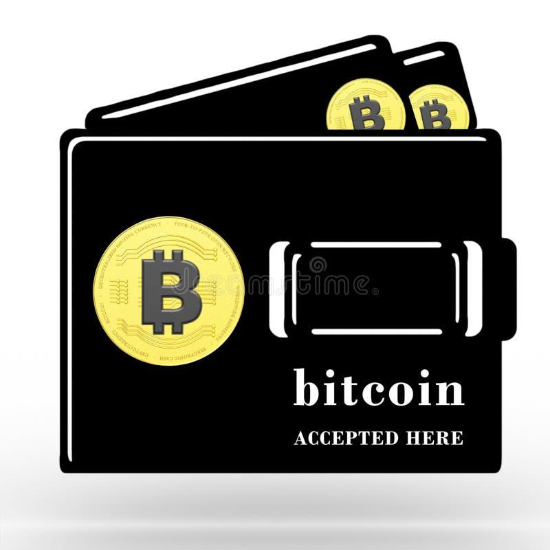 3D rindió Bitcoin aceptó aquí el ejemplo del concepto libre illustration