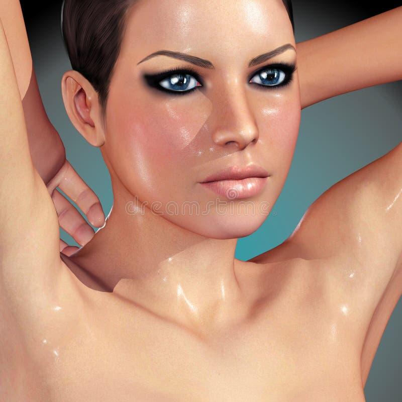 3d rindió el ejemplo af una mujer hermosa stock de ilustración