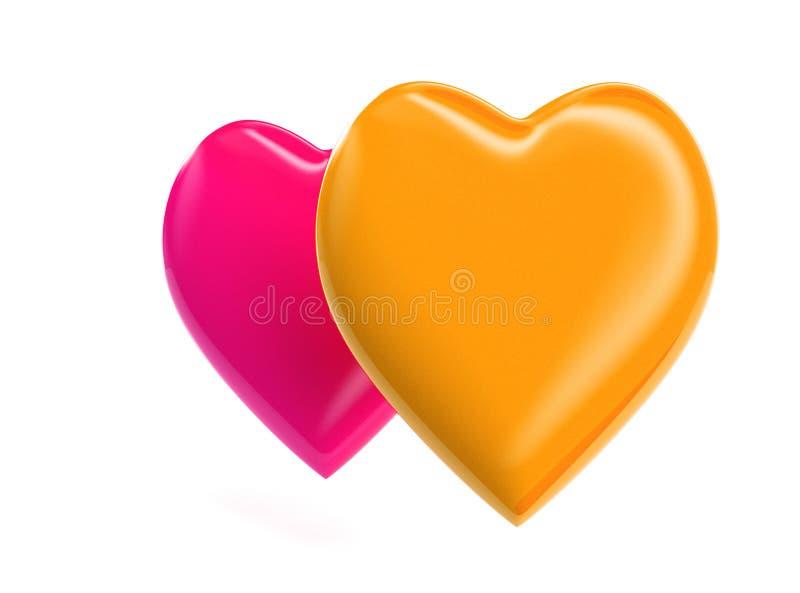3D rindió el ejemplo anaranjado del corazón ilustración del vector