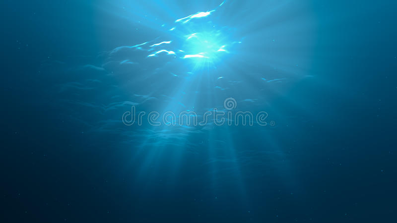 3D rindió el ejemplo de los rayos ligeros del sol debajo del agua libre illustration