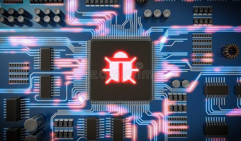 3D rindió el ejemplo del malware o del virus dentro del microchip en el circuito electrónico Seguridad de Internet ilustración del vector