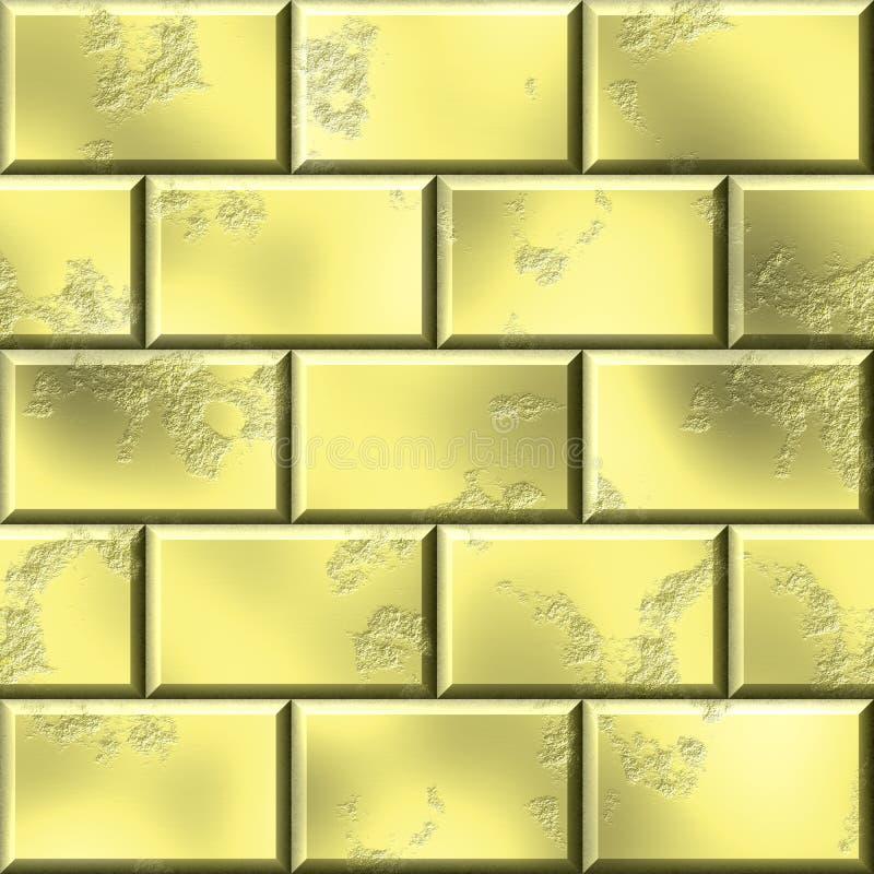 3d rindió el fondo de oro de la pared Textura de oro de los ladrillos en estilo geométrico ilustración del vector