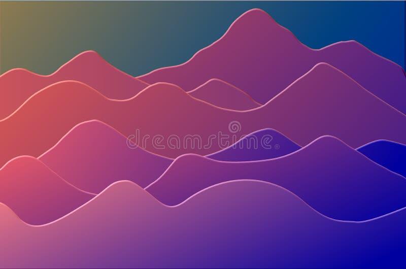 3D rindió el fondo ondulado de la duna stock de ilustración