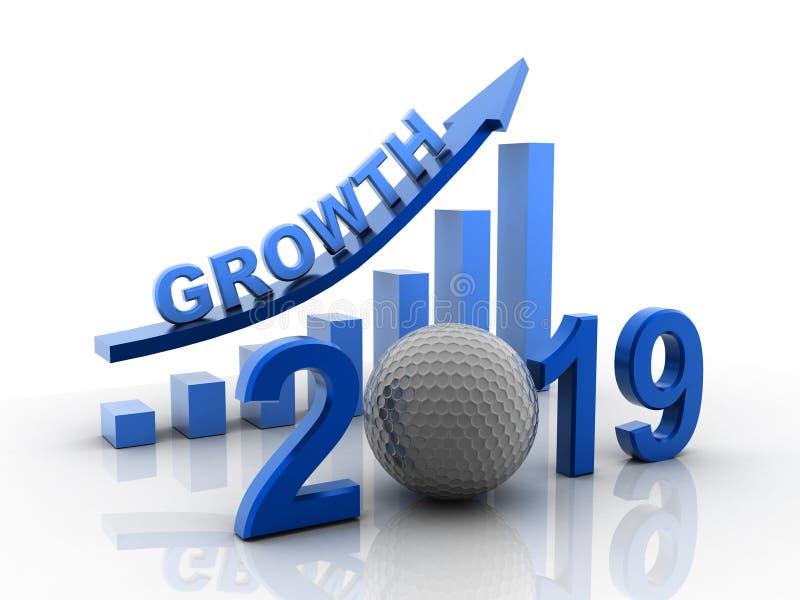 3d rindió el gráfico de negocio con la flecha roja para arriba, representa crecimiento en el año 2019 Crecimiento del negocio ais ilustración del vector