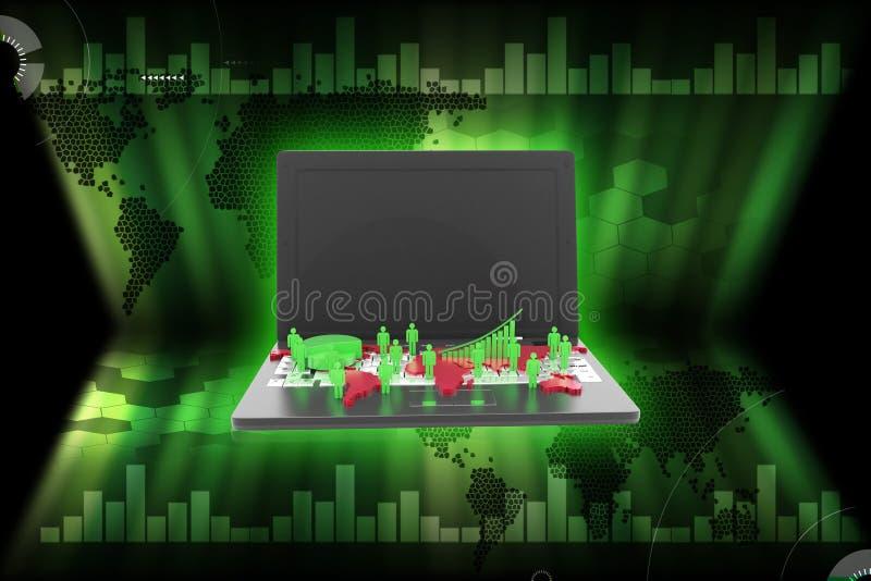 3d rindió la red del negocio global y el gráfico de negocio en el ordenador portátil en un fondo del color stock de ilustración