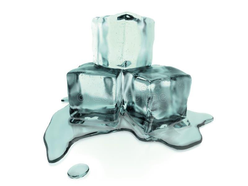 3d rindió los cubos de hielo de fusión con la trayectoria de recortes stock de ilustración