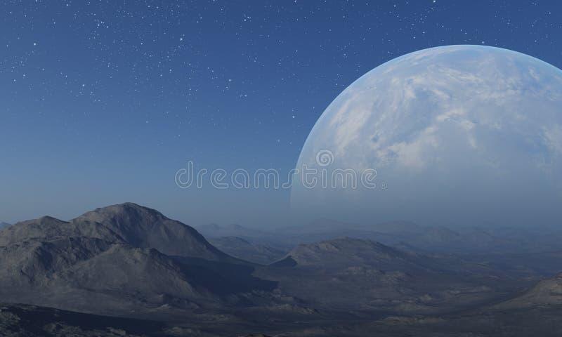 3d rindi? arte del espacio: Planeta extranjero - un paisaje de la fantas?a con los cielos azules y las estrellas stock de ilustración