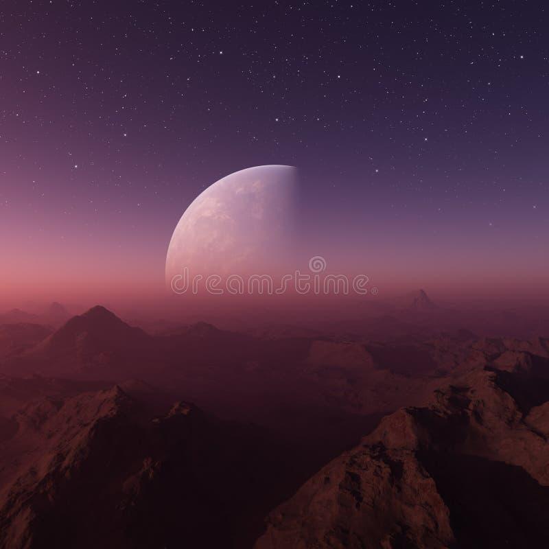 3d rindi? arte del espacio: Planeta extranjero - un paisaje de la fantas?a con los cielos y las estrellas p?rpuras ilustración del vector