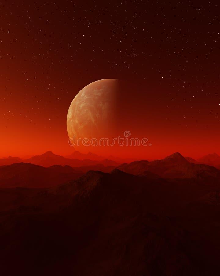 3d rindi? arte del espacio: Planeta extranjero - un paisaje de la fantas?a con los cielos y las estrellas rojos libre illustration