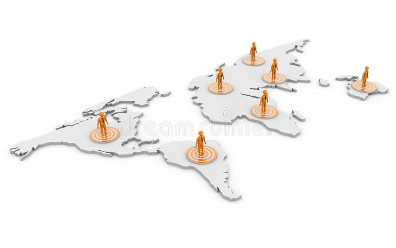 3d rindi? concepto de la red del negocio global aislado en el fondo blanco ilustración del vector