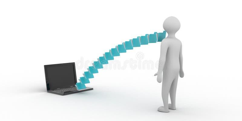 3d rindi? la red del negocio global y el gr?fico de negocio en el ordenador port?til en un fondo blanco libre illustration