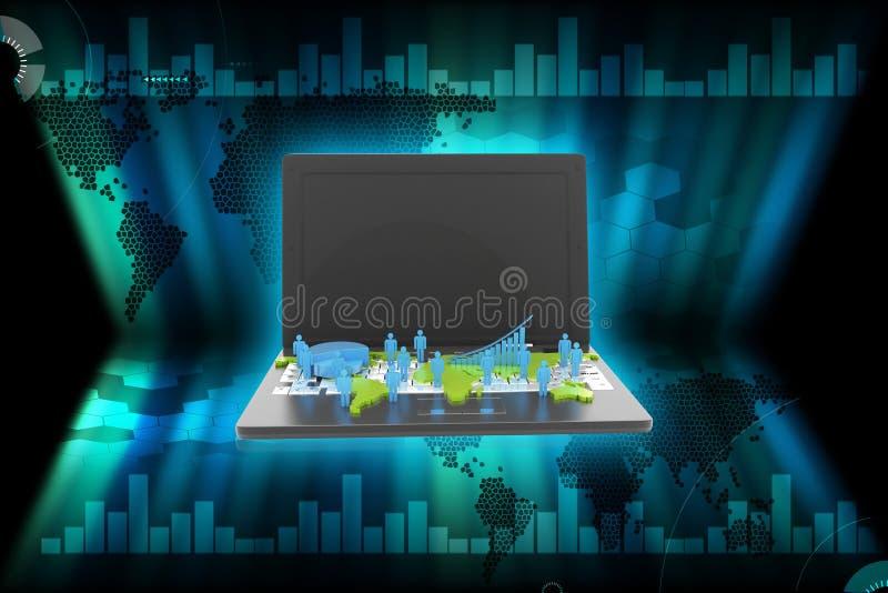 3d rindi? la red del negocio global y el gr?fico de negocio en el ordenador port?til en un fondo blanco stock de ilustración