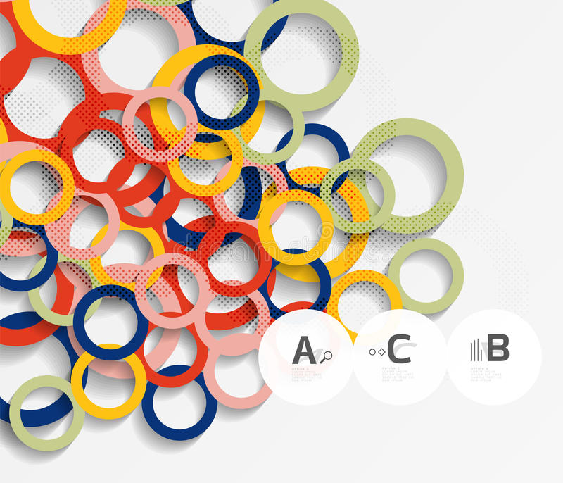 3d rings on grey. Geometrical modern abstract background royalty free illustration