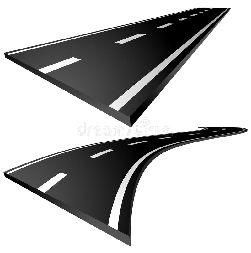 3d roads. Straight and curving roads isolated on white. stock illustration