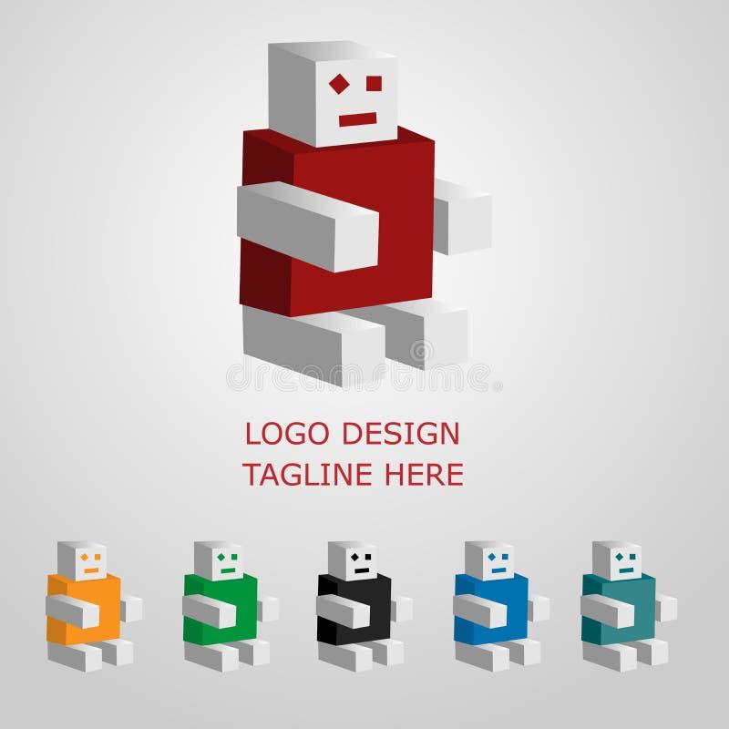 3d robô engraçado, logotipo no fundo branco ilustração stock