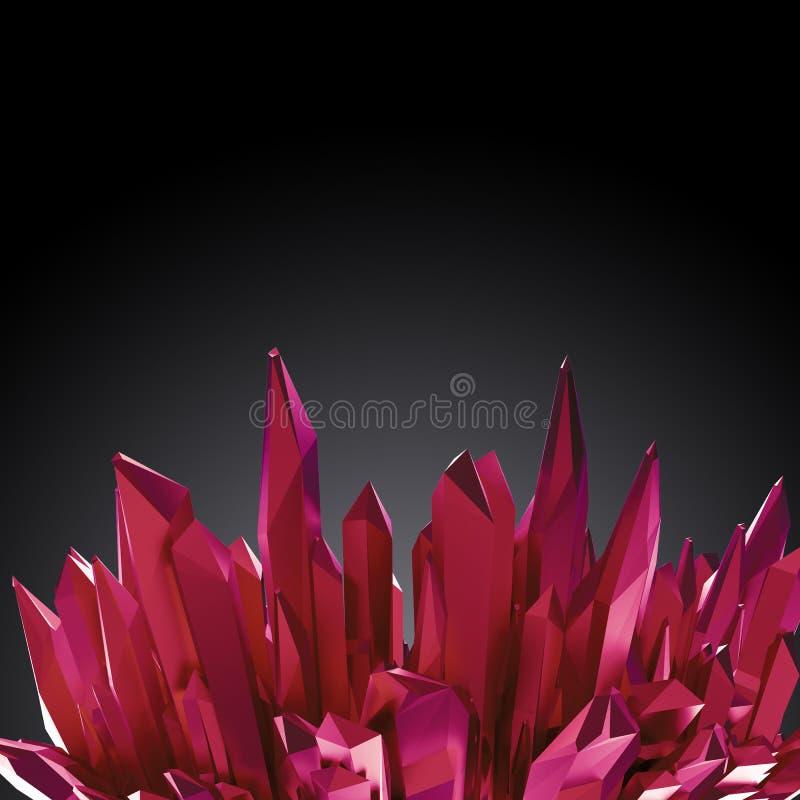 3d robijnrode rode kristallenachtergrond, gekristalliseerd voorwerp, abstract c royalty-vrije illustratie