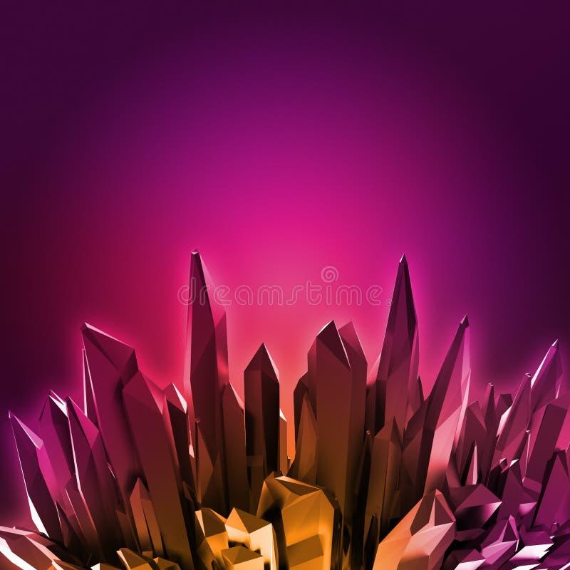 3d robijnrode rode kristallenachtergrond, roze neon kristalliseerde voorwerp, abstract creatief behang stock illustratie