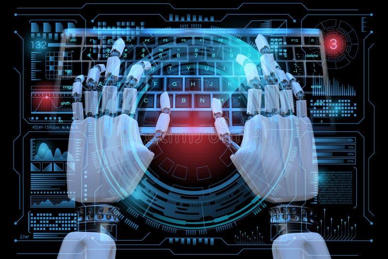 3d Robot ai cyborg digitando no teclado Painel de controle do Holograma Sci no estilo HUD Contexto futuralista 3d realista ilustração do vetor