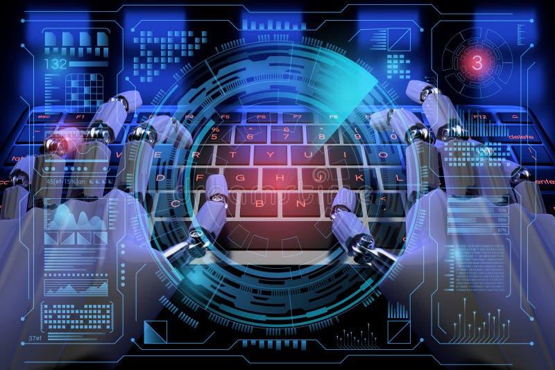 3d Robot ai cyborg typt op toetsenbord Sci fi Hologram-dashboard van het bedieningspaneel in HUD-stijl Futuristische achtergrond  vector illustratie