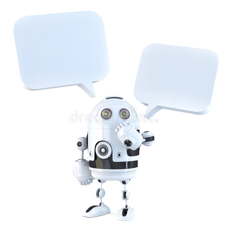 3d robot with chat bubbles. Isolated, contains clipping path stock illustration